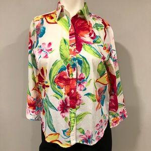 Tropical 3/4 length sleeve blouse
